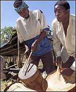 Drummers on a white-owned farm