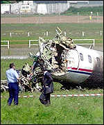 Learjet wreckage at Lyon, France