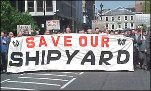 Shipyard workers marched to express concern over jobs
