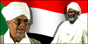 President al-Bashir and Mr al-Turabi: deep rivalry