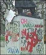 The plinth of Churchill's statue was covered in graffiti