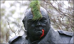 The statue of Sir Winston Churchill was sprayed with red paint