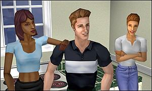 Three Sim people