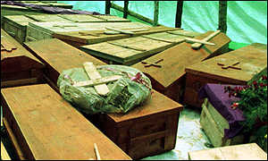 Coffins of genocide victims