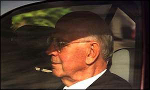 image: [ P.W. Botha driven from court in George on Tuesday ]