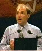 [ image: Tim Berners-Lee giving the keynote address]