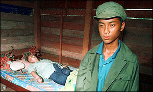 image: [ The deathbed of the man believed to be Pol Pot ]
