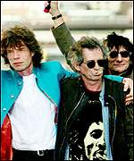 Mick Jagger with fellow Rolling Stones Keith Richards and Ronnie Wood