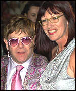 Sir Elton John with Janet Street-Porter at Cannes