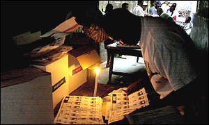 Haitian vote counting gets under way by candlelight