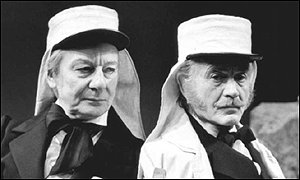 Sir John Gielgud (left) with Sir John Mills
