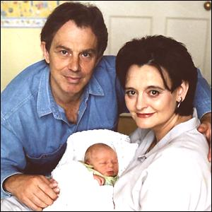 Tony Blair and Cherie with Leo