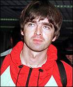 Noel Gallagher at Heathrow in 1996