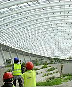 Plants from the Mediterranean basin, South Africa, Australia, Chile and California shelter beneath the glass roof