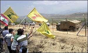 Hezbollah supporters at Israeli border