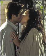 Duchovny and Driver kissing