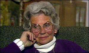 Mary Whitehouse in front of television