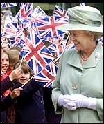 Well wishers with the Queen