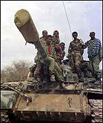 Ethiopian troops in a T-55 tank