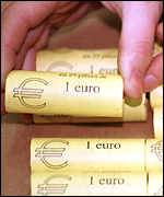 rolls of 1 euro coins