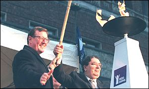 David Trimble with John Hume at the Nobel Academy