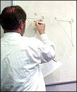 maths teacher writing on whiteboard