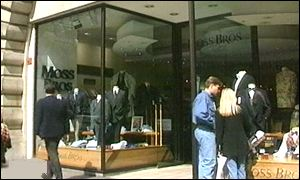 Shoppers outside Moss Bros