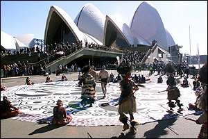 Traditional dancing in front of Sydney Opera House