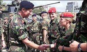 Prince Charles meets female Military Police officers in Kosovo's capital, Pristina