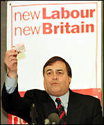 John Prescott holding his Labour election pledge card