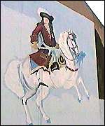 Loyalist mural of King Billy, William of Orange
