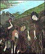 A mural of the Irish potato famine
