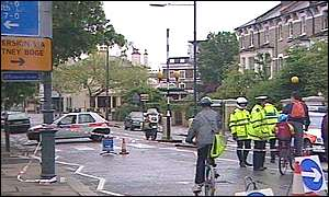Police tape off the area around Hammersmith Bridge after an explosion