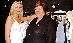 Sally Roibinson and a model with her range of lingerie