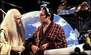 Richard Vernon as Slartibartfast and Simon Jones as Arthur Dent