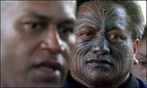A New Zealand Maori lends his support to Mr Speight