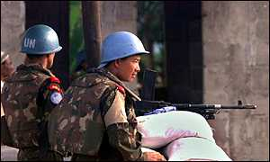 Indian peacekeepers at a check point in Freetown