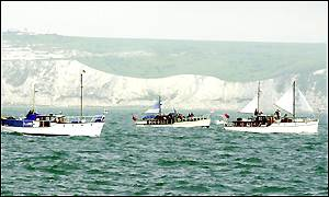 The Little Ships get into formation under the White Cliffs of Dover