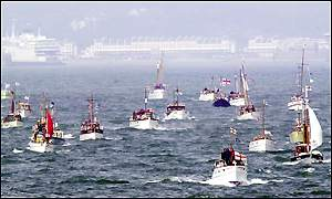 The Little Ships make their way across the English Channel