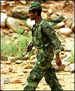 Ethiopian soldier on patrol
