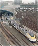 Eurostar leaving Waterloo station