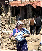 mother in village hit by earthquake