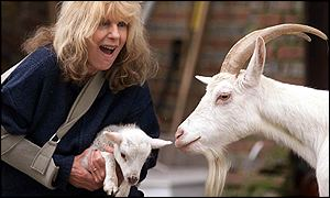 Carla Lane with lamb and goat