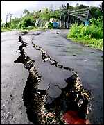 Cracks in road