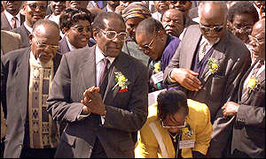 Mugabe and party members