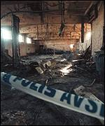 Burnt interior of building