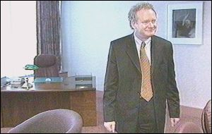 Martin McGuinness in his education office at Rathgael House