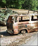 Burned out van