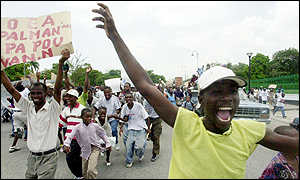 Supporters of Jean-Bertrand Aristide protest against the OAS's contention of vote counting methods