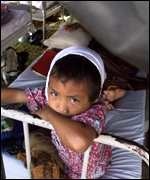 Injured child in tent